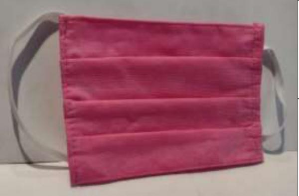 cubreboca tricapa plisado rosa